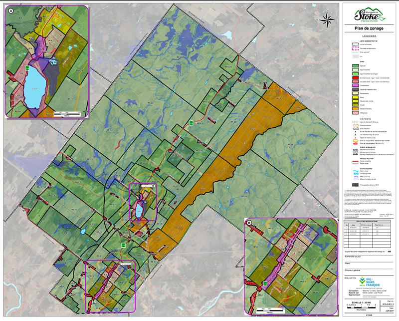 Carte et plan -Zonage municipalité de Stoke